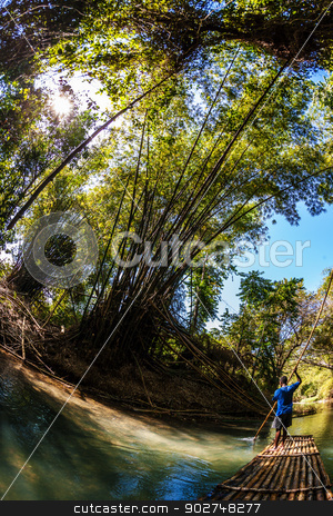 Man Steeting Bamboo Boat stock photo, Wide angle view of Black man steering bamboo boat by Scott Griessel