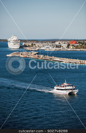 Key West Port With Boats stock photo, Key West port with cruise ship and tourist catmaran boat by Scott Griessel