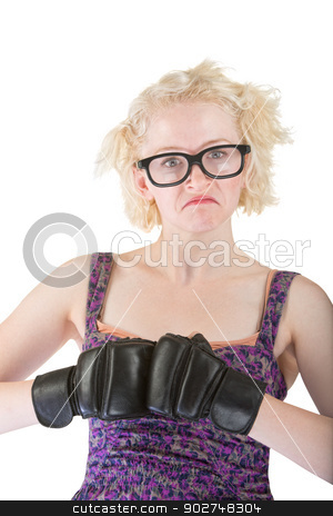 Tough Nerd in Dress stock photo, Tough nerd in purple dress with boxing gloves by Scott Griessel