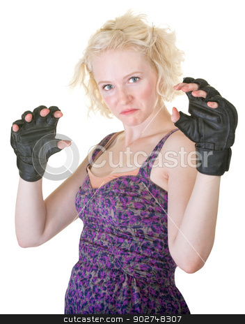 MMA Fighter in Dress stock photo, Tough MMA fighter in dress and gloves by Scott Griessel
