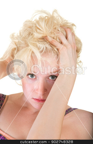 Sultry Blond Woman stock photo, Sultry blond European female with hands on head by Scott Griessel