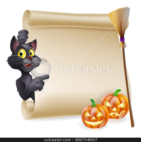 Halloween Scroll Sign stock vector clipart, A Halloween scroll with black cat pointing at the scroll sign and carved Halloween pumpkins and witch's broom stick  by Christos Georghiou