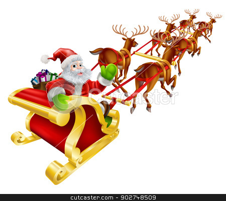 Christmas Santa Claus flying in sleigh  stock vector clipart, Christmas illustration of Cartoon Santa Claus flying in his sled or sleigh and waving  by Christos Georghiou