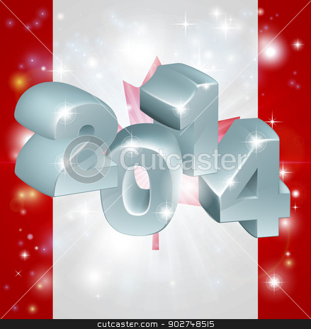 2014 Canada flag stock vector clipart, Flag of Canada 2014 background. New Year or similar concept by Christos Georghiou