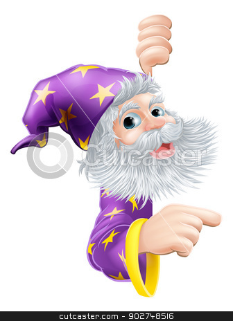 Wizard peeking round sign stock vector clipart, A cartoon wizard peeking round a sign and pointing at it by Christos Georghiou