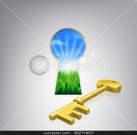 Key to happiness concept stock vector clipart, Key to happiness conceptual illustration of an idyllic sunrise over fields seen through a keyhole with a golden key. Could be used in self help or improvement or motivational context. by Christos Georghiou