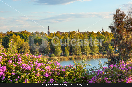 River Guadalquivr Seville Cathedral Seville Andalusia Spain stock photo, River Guadalquivr Seville Cathedral Bouganvillia Seville Andalusia Spain.  by William Perry