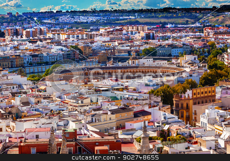 City View Bull Ring from Giralda Tower Seville Cathedral Spain stock photo, Cityscape, City View, Bull Ring, from Giralda Spire, Bell Tower, Seville Cathedral, Andalusia Spain.    by William Perry