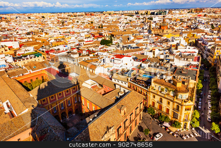City View and Plaza Churches from Giralda Tower Shadow Seville C stock photo, Cityscape, City View, from Giralda Spire, Bell Tower, Shadow, Seville Cathedral, Andalusia Spain.Plaza and Churches Streets Buildings    by William Perry