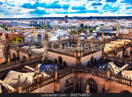 City View Tower from Giralda Tower Seville Cathedral Spain stock photo, Cityscape, City View, Tower from Giralda Spire, Bell Tower, Seville Cathedral, Andalusia Spain.  Built in the 1500s.  Largest Gothic Cathedral in the World and Third Largest Church in the World.  Burial Place of Christopher Columbus.   by William Perry