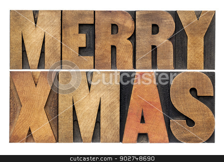 Meyy Xmas in wood type stock photo, Merry Xmas (Christmas) greetings or wishes - isolated text in vintage letterpress wood type blocks by Marek Uliasz