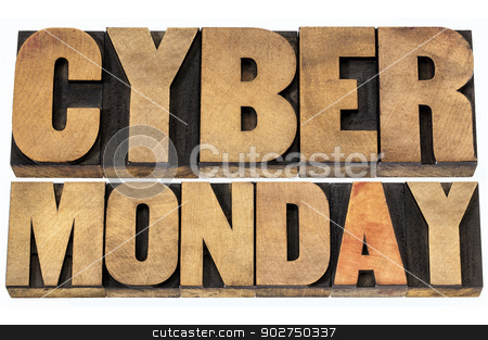 Cyber Monday shopping concept stock photo, Cyber Monday - online shopping and marketing concept - isolated text in letterpress wood type blocks by Marek Uliasz