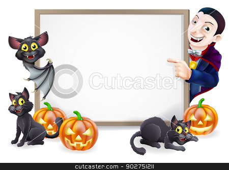 Halloween Sign with Dracula and Vampire Bat stock vector clipart, Halloween sign or banner with orange Halloween pumpkins and black witch's cats, witch's broom stick and cartoon Dracula and vampire bat characters  by Christos Georghiou