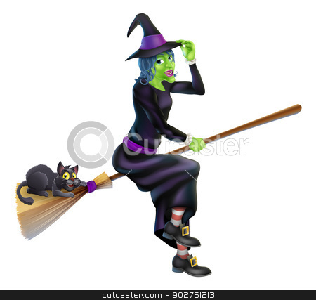 Witch on Broom with Black Cat stock vector clipart, A friendly cartoon Halloween witch flying on her broom stick with her cute black cat by Christos Georghiou