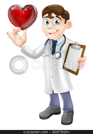 Cartoon Heart Doctor stock vector clipart, Cartoon illustration of a young doctor holding a heart shaped symbol. Concept for a heart specialist or cardiologist or for a caring doctor or good patient care. by Christos Georghiou