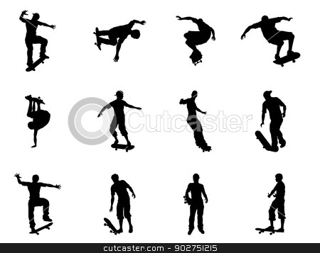 Skating skateboarder silhouettes stock vector clipart, Very high quality and highly detailed skating skateboarder silhouette outlines. Skateboarders performing lots of tricks on their boards. by Christos Georghiou