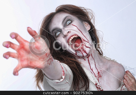 Psychotic Bleeding Woman in a Horror Themed Image stock photo, Bleeding Psychotic Woman in a Horror Themed Image by Katrina Brown