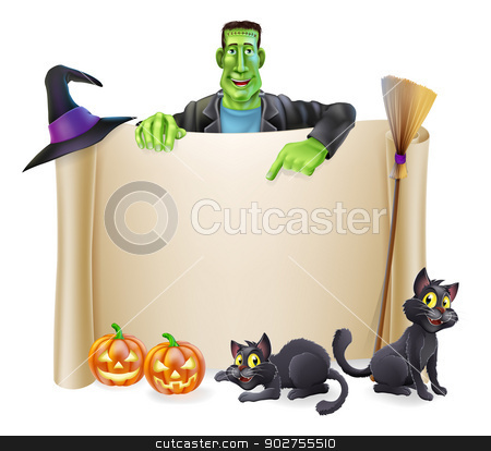 Halloween Scroll Background stock vector clipart, A Halloween scroll sign with a Frankenstein's monster character above the banner and pumpkins, witch's cats, hat and broomstick by Christos Georghiou