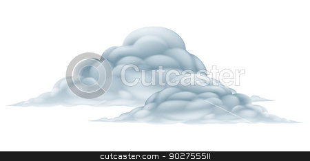 Cloud illustration stock vector clipart, An illustration of a big fluffy pair of clouds by Christos Georghiou