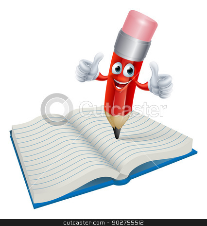 Cartoon Pencil Man Writing in Book stock vector clipart, An illustration of a cartoon pencil man character writing in a book by Christos Georghiou