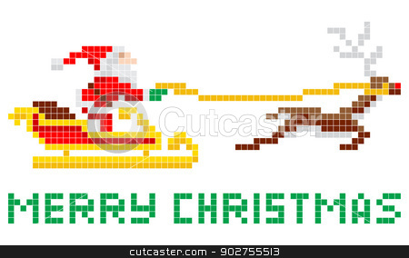 Pixel art Christmas Santa and Sled stock vector clipart, Retro 8-bit arcade video game style pixel art Christmas Santa Claus in sleigh with Merry Xmas message by Christos Georghiou