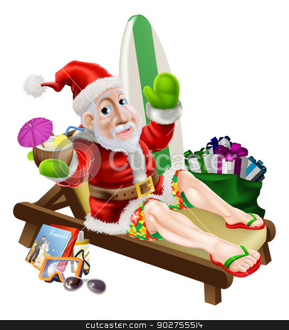 Santa Claus Beach Vacation stock vector clipart, Christmas Santa Claus with his vacation items, presents and surf board relaxing on the beach or by the pool wearing board shorts and flip flop sandals and enjoying a tropical cocktail drink. by Christos Georghiou