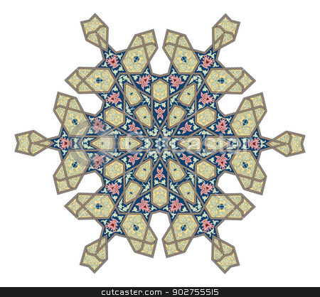 Ottoman floral pattern motif stock vector clipart, Arabic middle eastern floral pattern motif, based on Ottoman ornament by Christos Georghiou