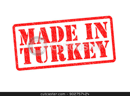 MADE IN TURKEY stock photo, MADE IN TURKEY Rubber Stamp over a white background. by Chris Dorney