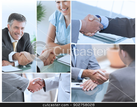 Collage of pictures showing business people stock photo, Collage of pictures showing business people shaking hands by Wavebreak Media