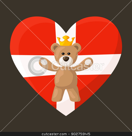 Danish Royal Teddy Bear stock vector clipart, Teddy Bear with crown and heart with flag of Denmark on the background. The file is made with no transparencies and gradients.  by Tindo