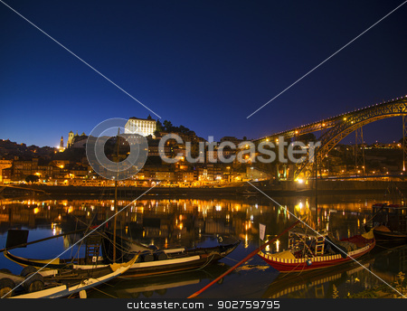 old town river area of porto in portugal at night stock photo, old town river area of porto in portugal at night with rabelo boats by travelphotography