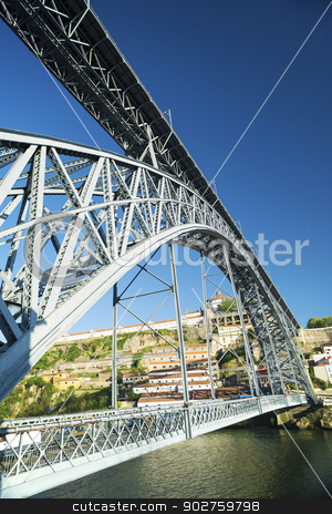 dom luis bridge landmark in porto portugal stock photo, dom luis bridge landmark in porto portugal over the douro river by travelphotography