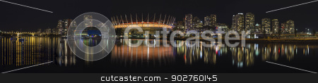 Vancouver BC City Skyline Night Scene Panorama stock photo, Vancouver BC Canada City Downtown Skyline NIght Scene Panorama by Jit Lim