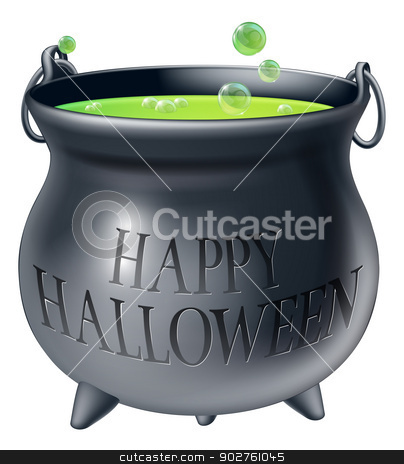 Happy Halloween witch cauldron stock vector clipart, Cartoon Halloween witch's cauldron with green bubbling witch's brew in it and a message reading Happy Halloween by Christos Georghiou