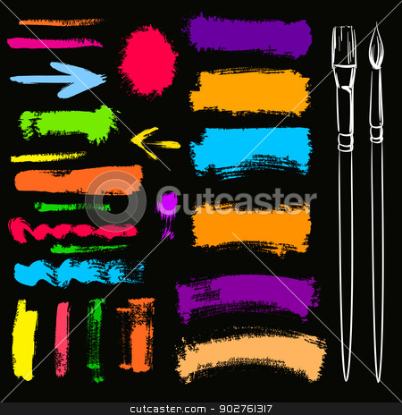Brushes and grunge painted elements. Vector painted banners  stock vector clipart, Brushes and grunge painted elements. Vector painted banners  by Essl
