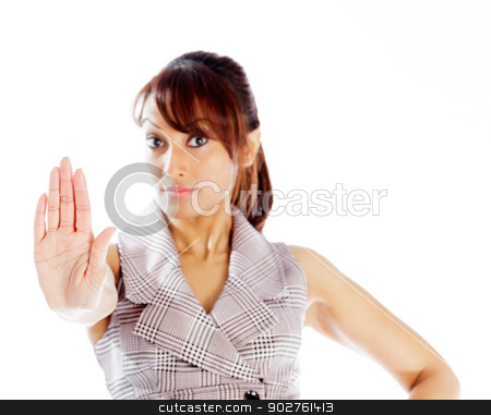 Attractive Indian woman isolated on white background stock photo, Indian business woman posing in studio isolated on a background by Bruno Monteny