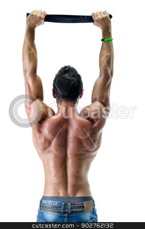 Young muscle man playing with black belt, naked, seen from the back stock photo, Attractive young muscle man's back, playing with black belt, shirtless wearing jeans, isolated on white by Stefano Cavoretto
