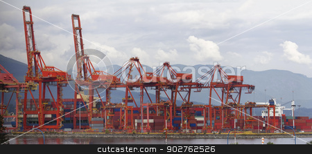 Port of Vancouver BC Cranes and Containers stock photo, Port of Vancouver BC Canada with Red Cranes and Shipping Containers at Shipyard Panorama by Jit Lim
