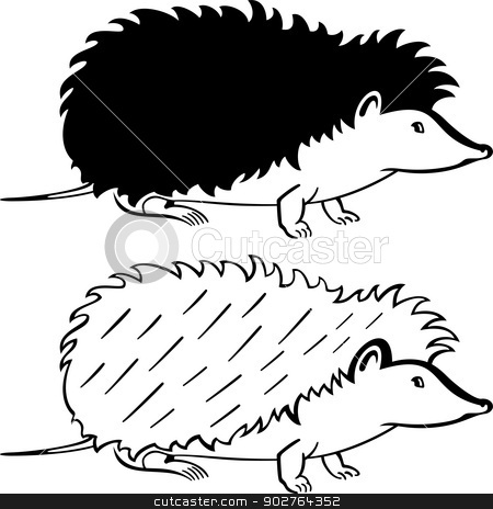 Hedgehog stock vector clipart, Silhouette hedgehog on white background by Volina