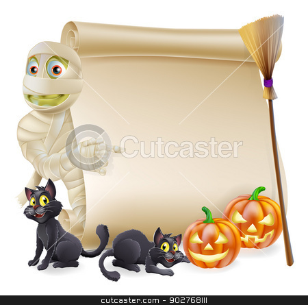Mummy Scroll Halloween Banner stock vector clipart, Halloween scroll or banner sign with orange carved Halloween pumpkins and black witch's cats, witch's broom stick and cartoon mummy character by Christos Georghiou