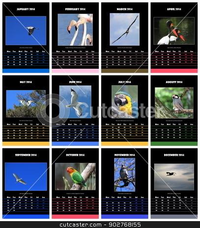 Birds calendar for 2014 stock photo, Colorful birds english calendar for 2014 in black background by Elenarts