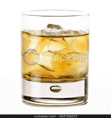 Whiskey on the rocks stock photo, Whiskey on the rocks isolated on white background by ABBPhoto