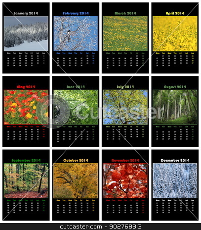 Nature calendar for 2014 stock photo, Colorful nature english calendar for 2014 in black background by Elenarts