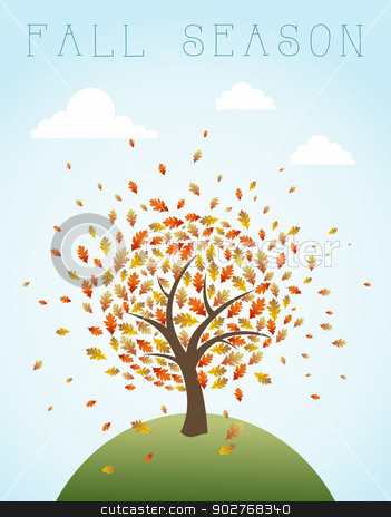 Fall season vintage global composition illustration. EPS10 file. stock vector clipart, Vintage autumn composition. Tree with exploding leaves over world illustration. EPS10 vector file organized in layers for easy editing. by Cienpies Design