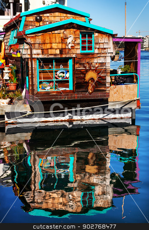 Floating Home Village Brown Houseboat Fisherman's Wharf Reflecti stock photo, Floating Home Village Brown Houseboat Fisherman's Wharf Reflection Inner Harbor, Victoria Vancouver British Columbia Canada Pacific Northwest.  Close to the center of Victoria, this area has floating homes, boats, piers, and restuarants.  by William Perry