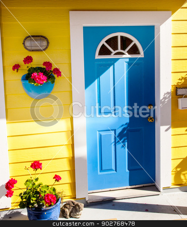Floating Home Village Yellow Blue Door Houseboat Fisherman's Wha stock photo, Floating Home Village Yellow Blue Door Brown Door Houseboat Fisherman's Wharf Reflection Inner Harbor, Victoria Vancouver British Columbia Canada Pacific Northwest.  Close to the center of Victoria, this area has floating homes, boats, piers, and restuarants.  by William Perry