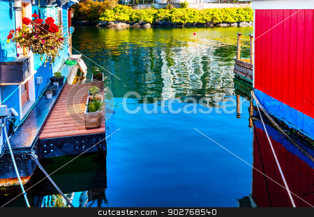 Floating Home Village Blue Red Houseboats Fisherman's Wharf Refl stock photo, Floating Home Village Blue Red Houseboats Fisherman's Wharf Reflection Inner Harbor, Victoria Vancouver British Columbia Canada Pacific Northwest.  Close to the center of Victoria, this area has floating homes, boats, piers, and restuarants.  by William Perry