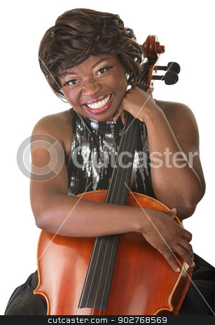 Happy Lady Holds a Cello stock photo, Single cheerful African woman holding a cello by Scott Griessel