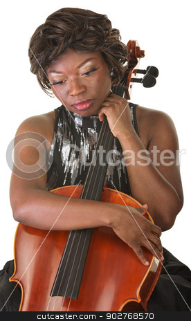 Sad Cello Performer stock photo, Sad African woman holding cello and looking down by Scott Griessel