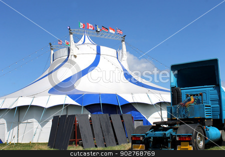 Circus tent and truck stock photo, Scenic view of circus tent with truck in foreground. by Martin Crowdy